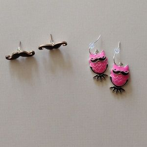 Jewelry - Two Pairs of Owl & Mustache Earrings